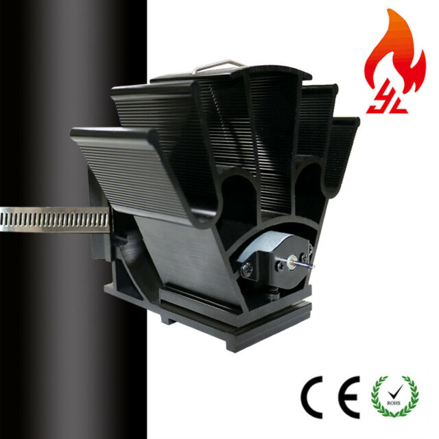Heat Powered Stove Fan w/Thermometer Quiet Large for Log Burner Fireplace Wood