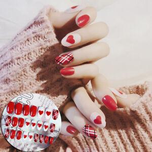 red-heart-acrylic-nail-tips-short-false-nails-art-fingernails-24pcs-set-XC