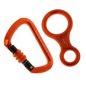 25KN Screw Lock Climbing Carabiner 35KN Figure 8 Rappelling Rope Descender