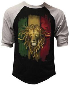 d599828583e6 Men s Rasta Flag Lion Black Baseball Raglan Shirt Rastafarian Jah ...