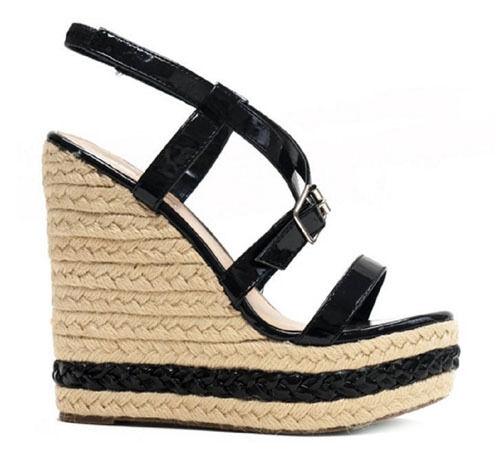 Nw Black espadrilles braid Wedge platform Strappy open peep toe Women Sandal 10