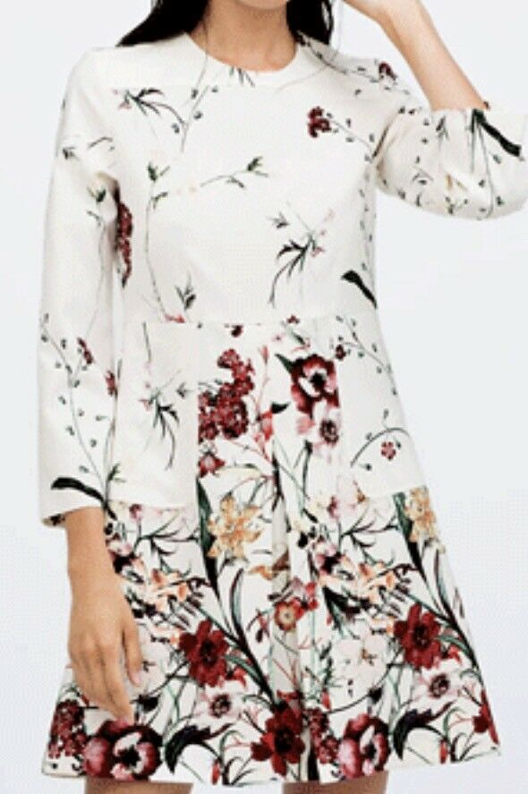 ZARA Tunika Kleid S 36 weiß Flower Floral Dress Top Shirt Blaumen Sommerkleid