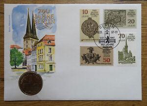 Amtlicher-DDR-Numisbrief-5-DM-750-Jahre-Berlin-1987-Coin-Letter-selten
