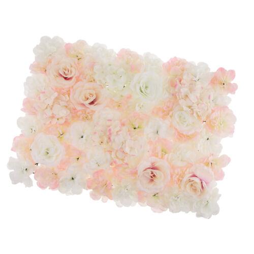 5x Silk Hydrangea Rose Flower Wall Panel Wedding Venue Decor White Champagne