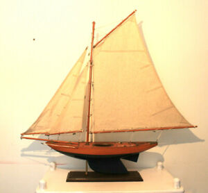 """Vintage Yacht sailing model boat wooden pond  32"""" tall handmade brass fittings"""