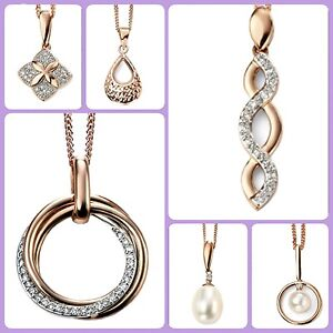 9ct-Rose-Gold-Diamond-Freshwater-Pearl-Pendant-Necklace-Chain-different-styles