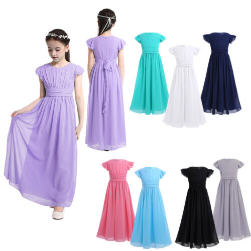Girls Flower Chiffon Flutter Sleeves Dress Party Wedding Bridesmaid Prom Gown