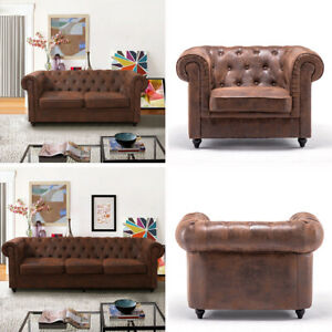 Details About Chesterfield Sofa 2 3seater Retro Brown Saddle Leather Couch Armchair Club Chair