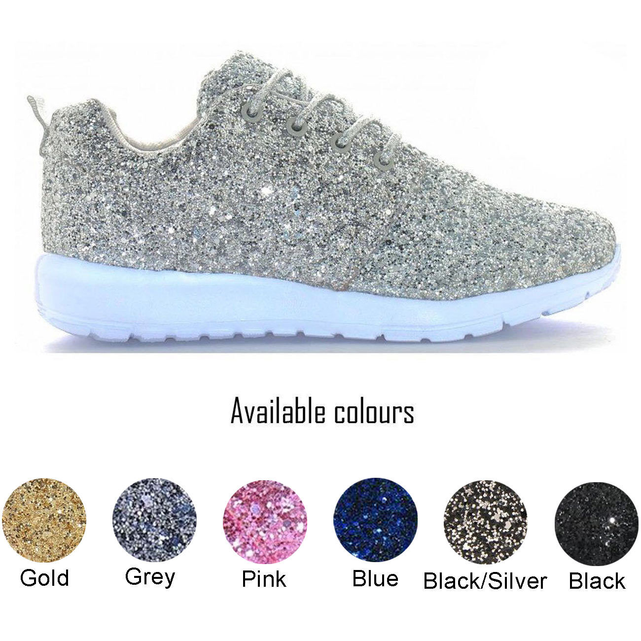 076004138a3 CLEARANCE Ladies womans Glitter Sparkly Trainers Sneakers Gym Pumps ...