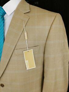 Michael Kors Silk Wool Sport Coat Blazer Jacket 42R Tan Check Two Button Beige