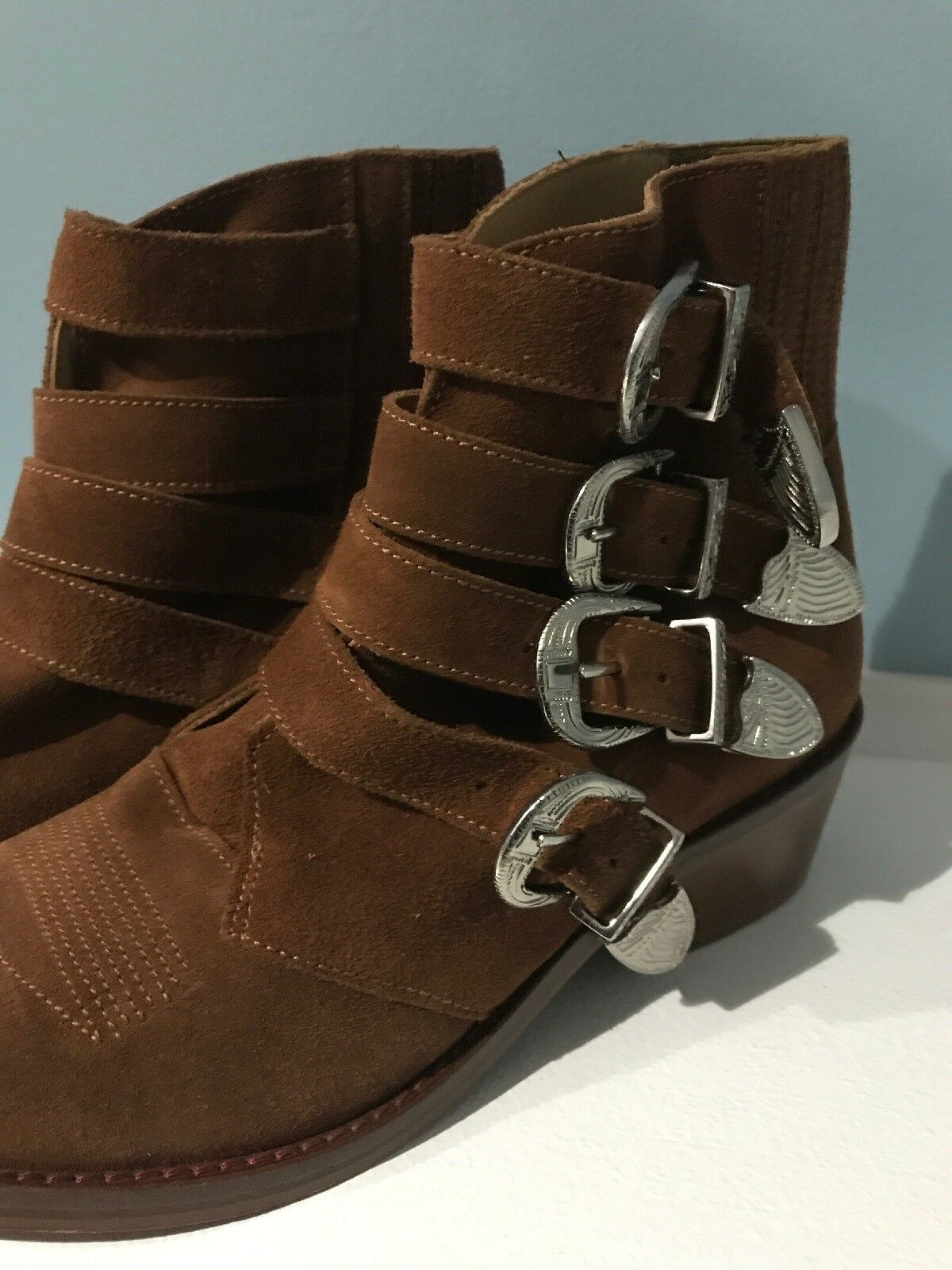 NEW  480 TOGA PULLA 4-BUCKLE TAN TAN TAN SUEDE BOOTIE - Size 36 Boots db8a36