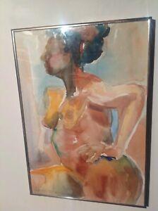ORIGINAL-ART-WATERCOLOR-INK-FRAMED-BY-LAURA-MARANUS-NUDE-STUDY-FEMALE-FAUVISM