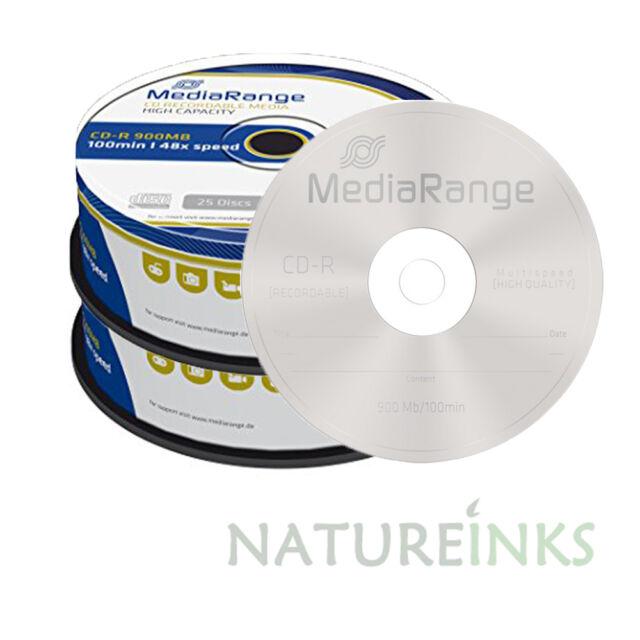 50 MediaRange Branded Blank CD R Discs 48x 100 Min 900MB Minutes