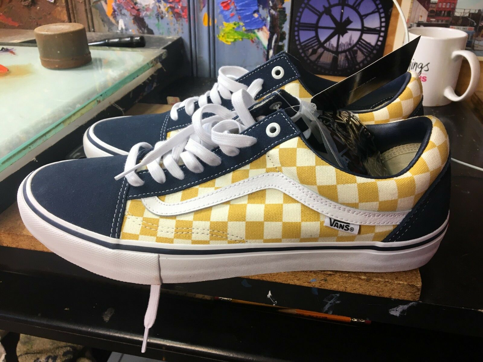 Vans Old Skool PRO (Checkerboard) DRESS blueE Yellow Size US 10 Men VN000ZD4Q40