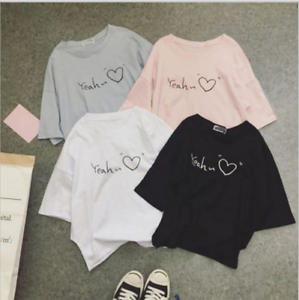 Girls Students Summer Loose T Shirt Korean Style Short Sleeve Cotton Heart Tops Ebay