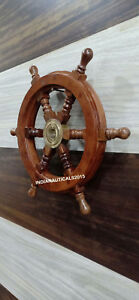 Nautical Boat Ship Wheel Brown Wooden Steering Wheel Wall Decor 12 Inches