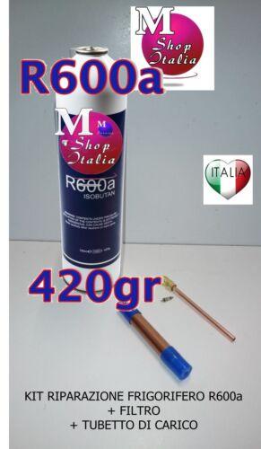 Kit Riparazione Frigorifero bombola R600a 420 gr Filtro Tubetto di Carico