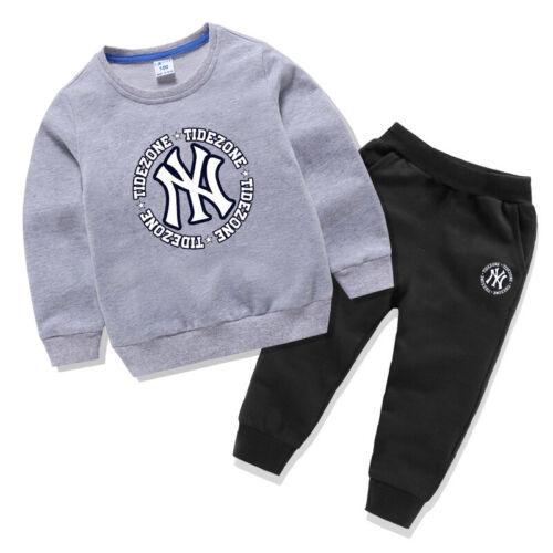 Casual Tracksuit Set Sweatsuit Children/'s Boys Girl Sportswear Cotton Costume UK