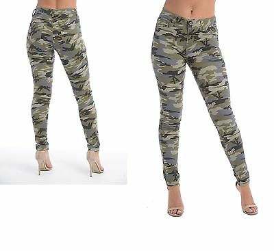 Camouflage Print Jeans Front And Back Pockets Skinny Fit Low Rise Sizes 6-14 Verschiedene Stile