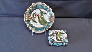 H-Bequet-Quaregnon-Belgium-179-166-Vintage-Peacock-Dish-amp-Trinket-Box-AS-IS
