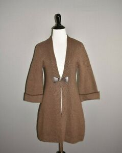 SOFT-SURROUNDINGS-89-Herringbone-Wool-Blend-Buckle-Front-Long-Cardigan-XS