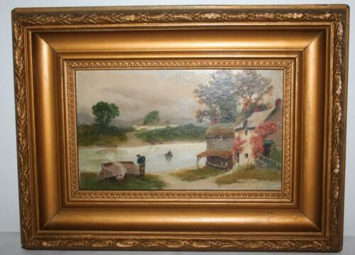 Oil Painting on Canvas Riverside Hut FREE Postage PL1519