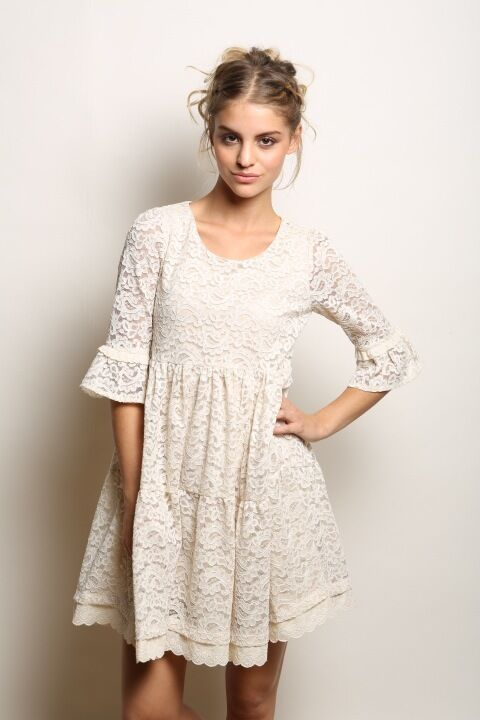 Maggie Sweet Cream Aitana Lace Swing Dress in Relaxed Fit Swing Shape MS-0010