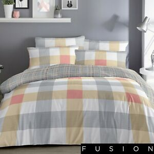 Fusion-BARCELONA-Checked-Bedding-Set-Reversible-Duvet-Cover-Yellow-Grey-Orange