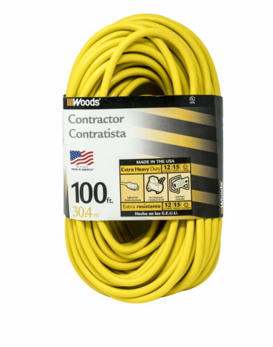 Woods 992555 12-Gauge Extra Heavy Duty 100 ft Extension Cord Yellow 3 Prong Out