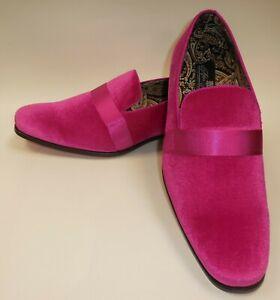 Mens Hot Pink Fuschia Magenta Velvet