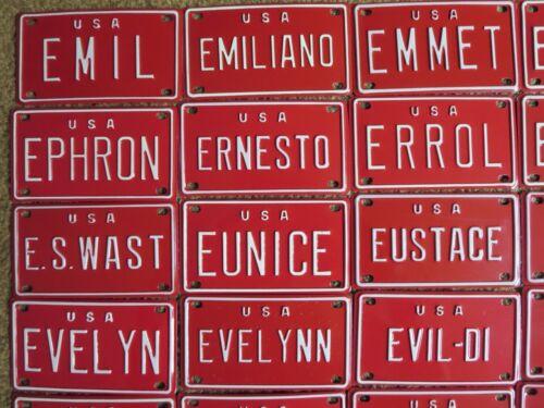 Gaetan U S A Mini Bike Bicycle Vanity Metal Red License Plate Sign Emil