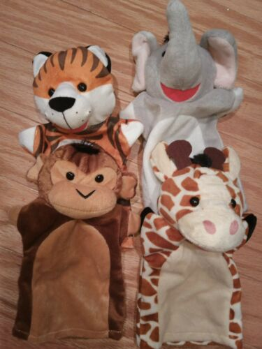 Melissa /& Doug Hand Puppets Zoo Friends Plush Giraffe Monkey Tiger Elephant