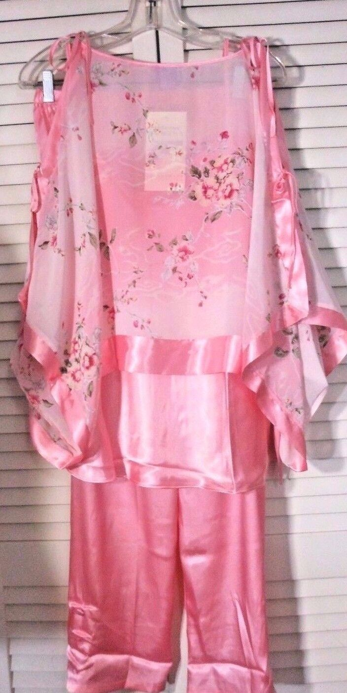NWT Women's SUZANNE SOMERS Lounge Wear Collection PINK 3 Pc Set PAJAMAS XS  129