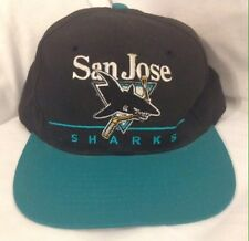 Vintage 1990's San Jose Sharks Black And Teal Logo Snapback NHL Hat Cap