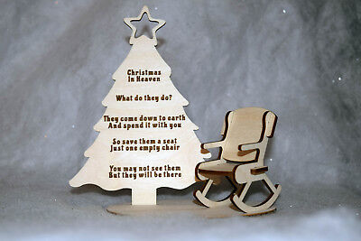 Christmas In Heaven Rocking Chair Xmas Angel Poem Remembrance Loved Ones