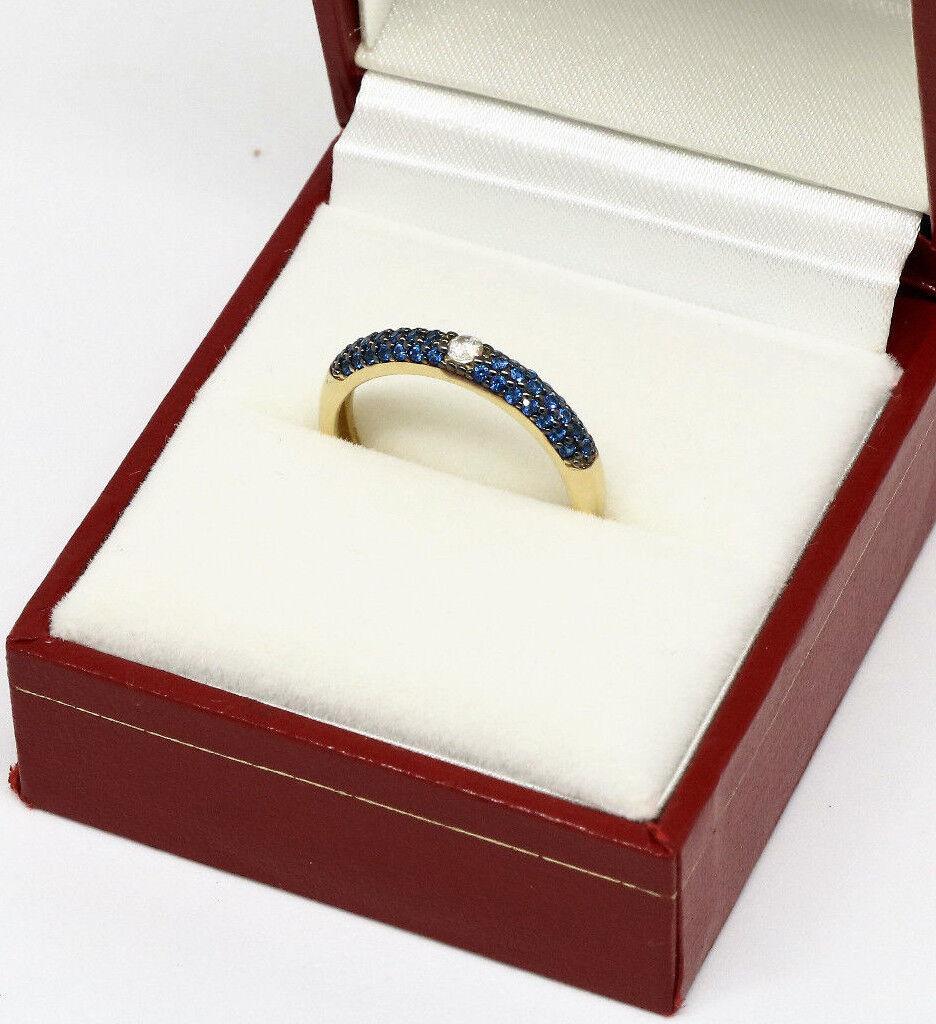 MYrosa anello oro GIALLO 750% 18KT con pavè PIETRE ZIRCONIA ZIRCONIA ZIRCONIA CUBICA blu df5e8b