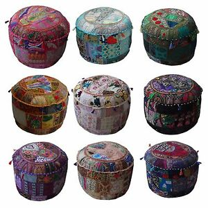 Indian-Handmade-Round-Ethnic-Embroidery-Vintage-Patchwork-Footstool-Pouffe-Cover