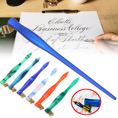 Speedball Pen Oblique Set Holder Point 1 Pack Calligraphy 6 Nibs Copperplate