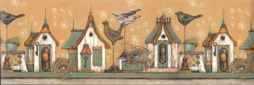 Gold /& Green Birdhouses with Birds Wallpaper Border EX80960