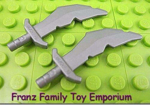 New LEGO Minifigure SWORD Silver Weapons Lot of 2 Scimitar Ninjago Ninja Viking