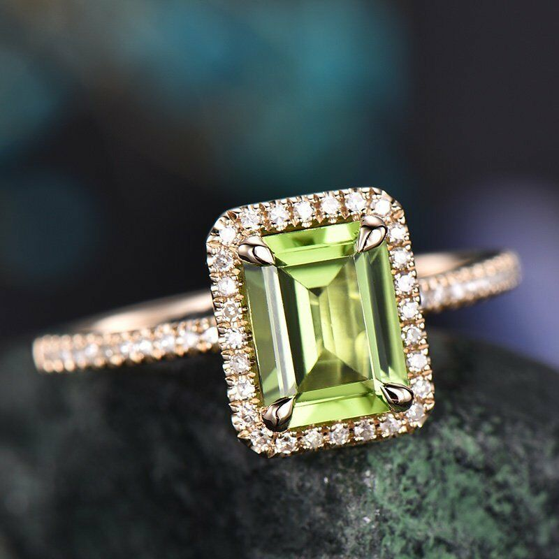6f9ea61d0 2Ct Emerald Cut Green Peridot Halo Solitaire Engagement Ring 14K pink gold  Over