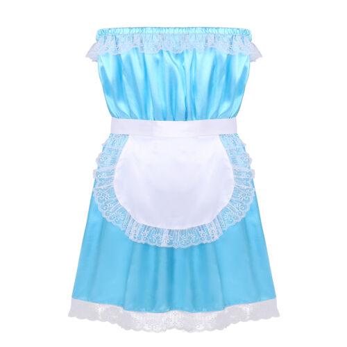 Mens Sissy Dress Silky Satin Baby Doll Crossdresser Lingerie Sleepwear Pajamas