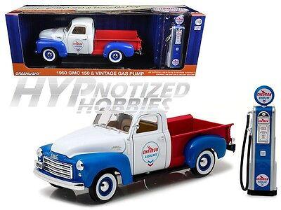 Greenlight 1:18 Gmc 150 Chevron & Vintage Gas Pompa Modellino Multi 12992 Squisito Artigianato;