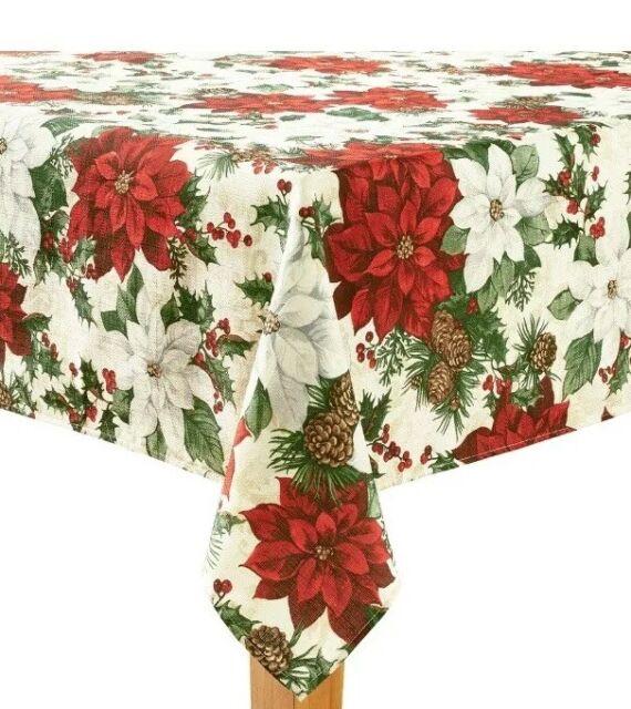 St Nicholas Square Poinsettia Print 60x102 Oblong Christmas Tablecloth For Sale Online Ebay