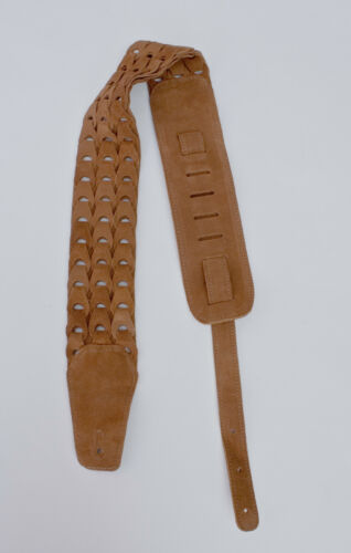 """Guitar Strap 3/"""" WIDE NATURAL 3-ROW SUEDE For Acoustic /& Electrics Made In USA"""