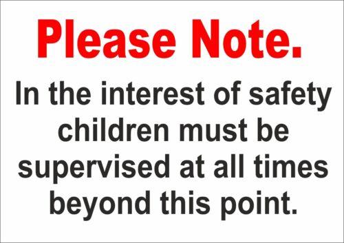 Si prega di notare che nell/'interesse dei bambini di sicurezza devono essere sorvegliati segno//Adesivo