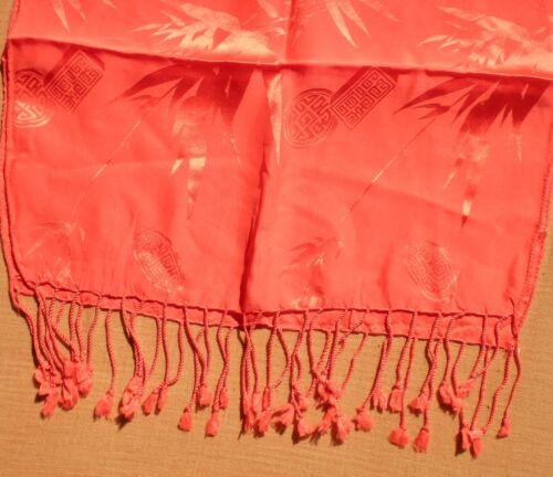 Elegant Scarf from Nepal 100/% Silk Floral and Leaf Pattern Orange