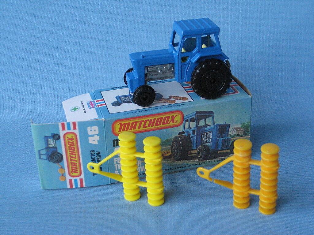 Lesney Matchbox Ford Tractor bluee Body DARK Yellow Yellow Yellow Harrow Boxed Farming 4c2d2d