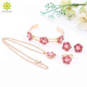 Details About Lovely Pink Crystal Flower Children Necklace Kids Baby Costume Jewelry Sets