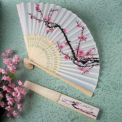 1pcs Chinese Folding Hand Fan Japanese Cherry Blossom Design Silk Costume Party